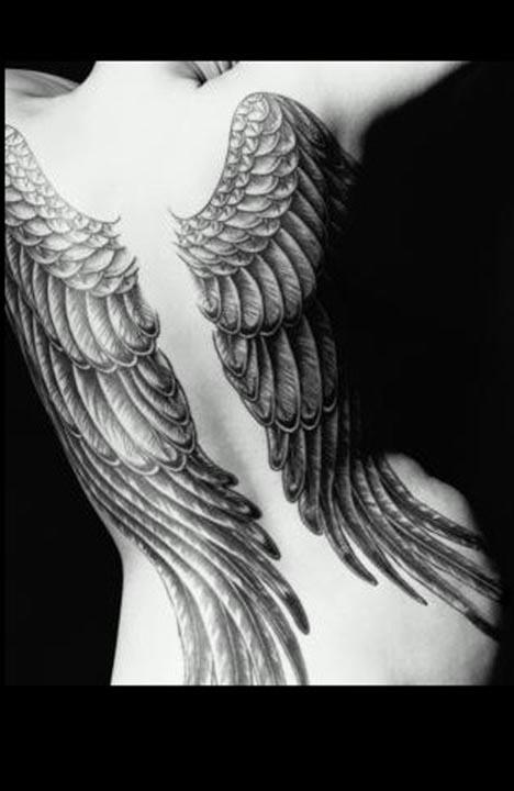 Women Back Piece Angel Wings Tattoos Picture 2