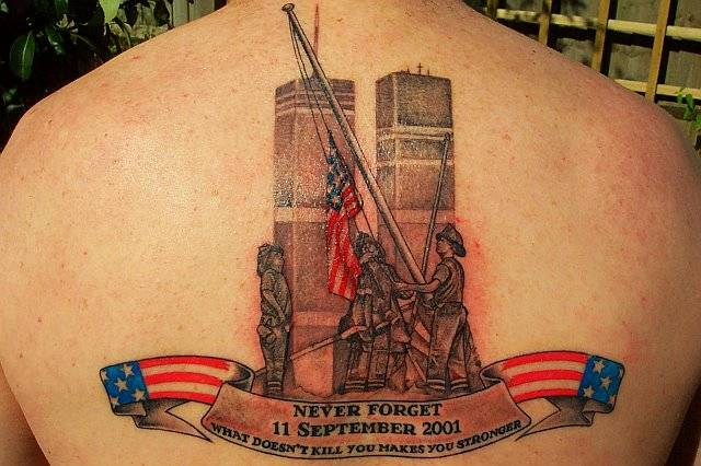 best september 11 01 tattoo. Twin Tower and Firefighters Tattoo